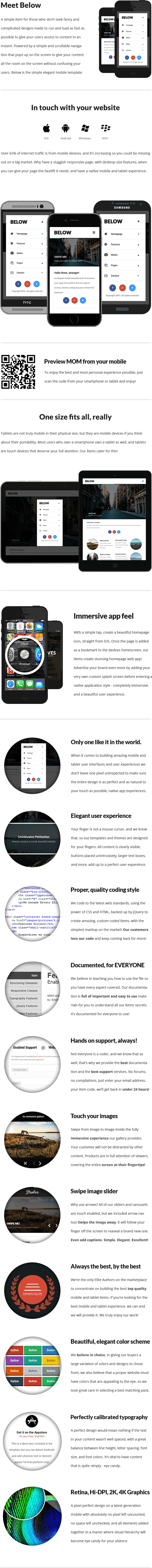 Below | Mobile & Tablet Responsive Template