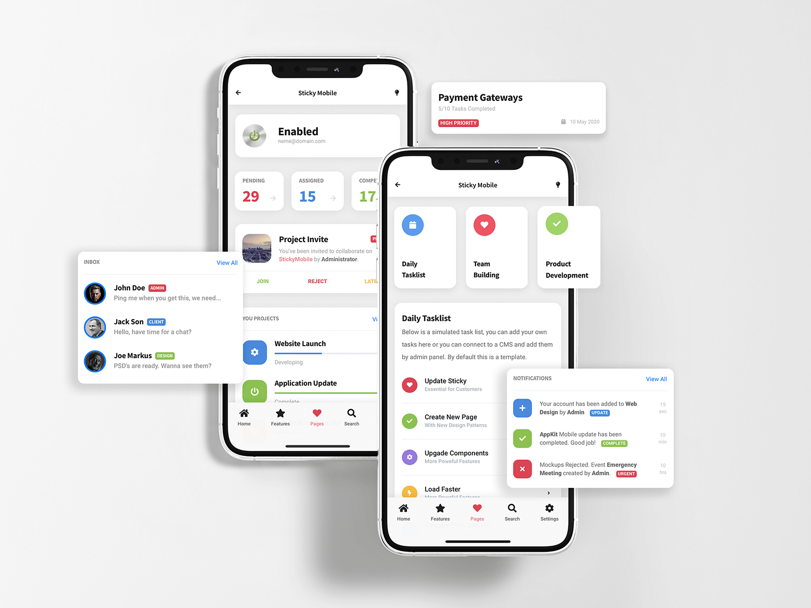 Sticky Mobile Task Management Pages